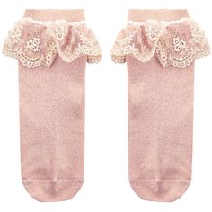 Monsoon Girl Dainty Flower Lace Socks ($10) ❤ liked on Polyvore featuring intimates, hosiery, socks, pink frilly socks, lacy socks, frilly socks, ruffle socks and lace hosiery