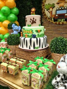 New Birthday Happy Boy Party Ideas Ideas Safari Birthday Cakes, Jungle Theme Birthday, Safari Theme Party, Wild One Birthday Party, Safari Birthday Party, Baby Boy 1st Birthday, Animal Birthday, First Birthday Parties, First Birthdays