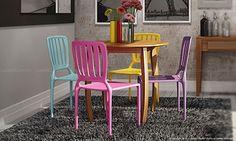 Conjunto para Sala de Jantar com Mesa, 4 Cadeiras e Aparador Castanho/Rosa/Azul/Amarelo/Lilás - Caaza | Lojas KD