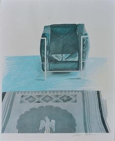 David Hockney, Corbusier Chair and Rug, offset lithograph in colour