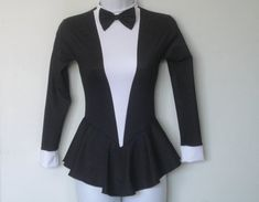 Elegant Tuxedo Figure Skating Dress, All Sizes, Pinstripe Look Fabric, Removable/Movable Bow Tie, Cuffs, Attached Panty, Zip Back, Ice Skate