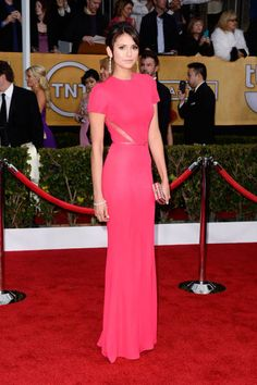 A wow-worthy appearance by stunning Nina Dobrev in hot pink Elie Saab at the SAG Awards 2013