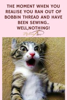 When you run out of bobbin thread!  #SewingJokes #SewingHumor