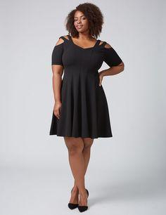ce35fb1b9d4 Women s Plus Size Strappy Shoulder Fit   Flare Dre…