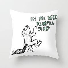 Where The Wild Things Are Throw Pillow by Lauren Draghetti - $20.00