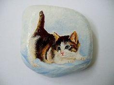 Olejomalba na kámen - Kočička..cute kitten painted on stone!