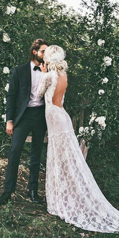39 Vintage Wedding Dresses You Will Fall In Love ❤️ vintage wedding dresses with long sleeves open back boho claire pettibone ❤️ Full gallery: https://weddingdressesguide.com/vintage-wedding-dresses/ #bride #wedding #bridalgown #vintageweddingdress