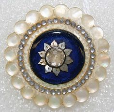 RP:    French Medium Mother-of-Pearl, Paste, Metal Button ca. 1780