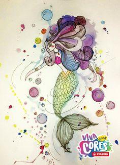 """A Isadora Ferreira (fb.com/sadorafr) disse que conta o que sente por meio de desenhos. """"Gosto de presentear as pessoas com bilhetinhos cheio de cores. É com coisinhas simples que vivo as minhas cores, colorindo a vida de outras pessoas!"""". Não é uma fofa?   Olha essa sereia incrível que ela colocou no nosso mural de todas as cores. Coloque o seu desenho por lá também: http://stabilo.com.br/vivasuascores/galeria.php"""