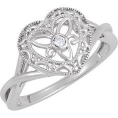 Sterling Silver & Diamond Heart Ring $79.99