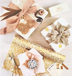 pinks + gold + taupe | holiday gift wrap