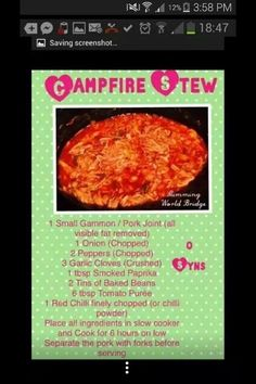 Slimming world campfire stew recipe