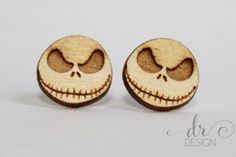 Laser Cut Wood Halloween Skeleton Earrings - Lasercut Skull Stud Earrings - Halloween Earrings - Halloween Jewelry- Halloween Jewellry