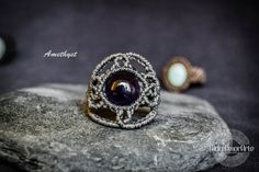 NEW!! Amethyst Macramé Ring,Amethyst stone,macramé jewelry,Crown Chakra