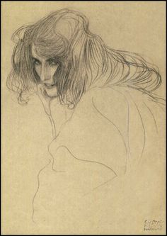 Study for the Figure of Lasciviousness [Beethoven Frieze] - Gustav Klimt (1901)
