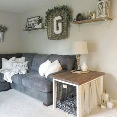 Farmhouse style / dog crate / dog cage / dog crate cover / dog crate end table / end table / diy / crate cover / dog crate furniture / diy dog crate hack / dog cage hack Dog Crate Cover, Diy Dog Crate, Dog Crate End Table, End Table Dog Bed, Dog Kennel End Table, Diy Dog Kennel, Dog Kennel Cover, Pet Kennels, Kennel Ideas