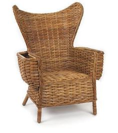 French Country Wing Chair Let this chair take command of your living space, a den or a weekend cabin. Traditional wings escape in dramatic upward curvature that provides a protective surround at the sides. Rattan reed in a classic weave gives it rustic appeal that combines with solid rattan cane framing concealed in wrapped fibers at the exposed legs.