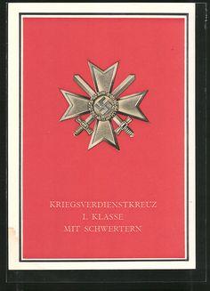old postcard: AK Kriegsverdienstkreuz 1. Klasse mit Schwertern