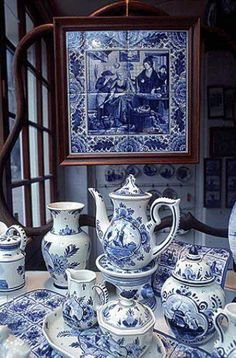 (Delft Blue pottery has been produced in the city of Delft, Holland since the century.) Delftware was popular in the Baroque period due to Queen Mary's fondness for Delft pottery items. Blue And White China, Blue China, Love Blue, Delft, Chinoiserie, Blue Dishes, White Dishes, White Decor, White Porcelain