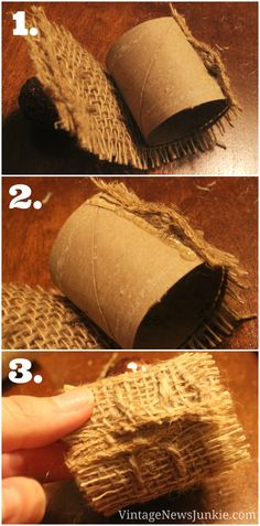 Easy-to-Make Burlap Napkin Rings {with Sparkly Pinecones!} | Vintage News Junkie