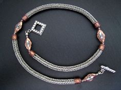 Viking Knit Copper and Silver Necklace - N148