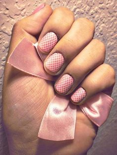 fishnet nails (: create by dipping a piece of lace of fishnet in nail polish or paint (nto to thick or drippy) and press onto nails Lace Nail Design, Lace Nail Art, Lace Nails, Pink Nails, Pink Design, Nails Design, Color Nails, White Nails, Bridal Manicure