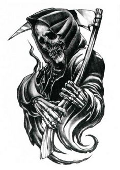 If you think that the grim reaper tattoos are only for press-gangs, and then you should reevaluate it. They are artistic tattoos that can be worn by both men and women Skull Tattoo Design, Skull Tattoos, Tattoo Designs Men, Body Art Tattoos, Sleeve Tattoos, Grim Reaper Art, Grim Reaper Tattoo, Grim Reaper Drawings, Tattoo Sketches