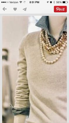 I'm not always a fan of pearls or collared shirts under sweaters, but I do like how this is pulled together
