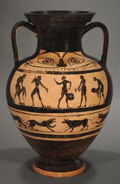 Etruscan black-figure amphora with athletes and warriors