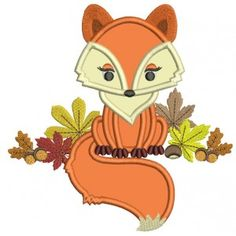 Fall machine embroidery appliques and digitized design patterns Fox Embroidery, Machine Embroidery Applique, Applique Patterns, Applique Designs, Quilt Patterns, Embroidery Ideas, Felt Ornaments, Happy Fall, Pattern Design
