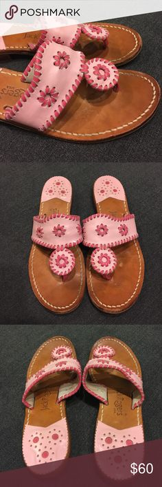 Pink Jack Rogers sandals Jack Rogers sandals in two tone pink. Size 7M. In good used condition, see photos for signs of wear. Still have lots of life in them! Perfect sandal for summer. Offers welcomed through offer button Jack Rogers Shoes Sandals