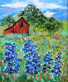 Original oil painting Texas Bluebonnets and Barn by Karensfineart