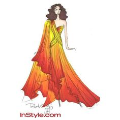 Fashion Designers Sketch Katniss's Fire Dress! ❤ liked on Polyvore featuring fashion sketches and sketches