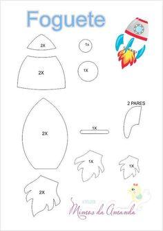 cohete y astronauta de fieltro con moldes - Ideas de Manualidades