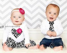 Twins Baby Set, 2 matching baby shirts or bodysuits, INCLUDES skirt and headband