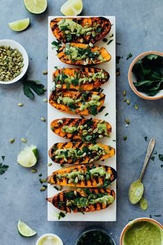 My favorite way to serve sweet potatoes is smashed and charred on the grill, with a drizzle of chimichurri!