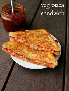 pizza sandwich recipe, grilled veg pizza sandwich, pizza sandwiches with step by step photo/video. healthy, tasty fusion recipe ideal for kids snacks tiffin Vegetarian Sandwich Recipes, Best Sandwich Recipes, Lunch Box Recipes, Snack Recipes, Cooking Recipes, Pizza Recipes, Appetizer Recipes, Bread Recipes, Breakfast Recipes