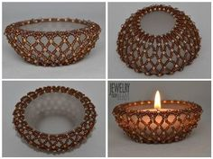 Karla Mokrošová Tea Light Holder, Bead Art, Diy Gifts, Tea Lights, Beaded Jewelry, Jewerly, Beading, Swarovski, Candle Holders