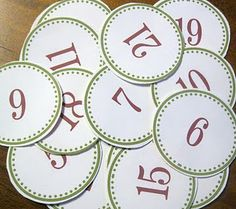 printable Advent numbers