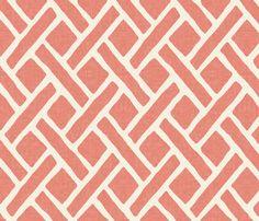 Savannah Trellis // Crisp White Summer Lawn fabric by willowlanetextiles on Spoonflower - custom fabric Coral Wallpaper, Custom Wallpaper, Linen Wallpaper, Neutral Wallpaper, Room Wallpaper, Coral Fabric, Grey Fabric, Coral Pattern, Lawn Fabric