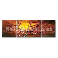 Hand-painted Oil Painting Foloral Oversized Wide - Set of 3