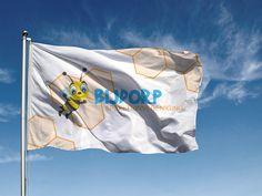 Grafisch ontwerp en drukwerk vlaggen voor speeltuin Bijdorp! www.omega-design.nl