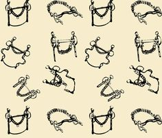 Small Scatter Bits (beige) fabric by redmares on Spoonflower - custom fabric