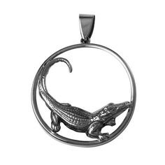 Alligator pendant in round frame-gold or silver Round Frame, Round Pendant, Animal Jewelry, Sterling Silver Chains, Horns, Pocket Watch, Pendant Necklace, Xmas Gifts, Gold