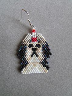 Beaded Shih-Tzu Earrings by DsBeadedCrochetedEtc on Etsy