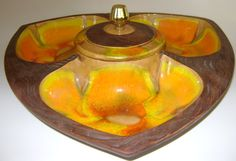 Vintage Chip and Dip Server Drip Glaze USA by CherryRiversVintage, $25.00