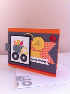 Stampin up I dig you! Boy birthday card