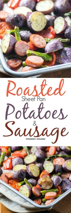 Roasted Sheet Pan Potatoes and Sausage by Noshing With The Nolands is full of nutrition and flavour! The Something Blue Creamer potatoes used adds colour while giving you a side of potassium, iron, fiber and is gluten free too! Sausage Recipes, Potato Recipes, Cooking Recipes, Healthy Recipes, Savoury Recipes, Toasted Potatoes, Side Dish Recipes, Dinner Recipes, Recipe Sheets