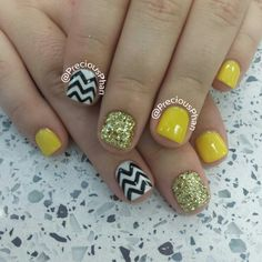 Chevron nails, black yellow and gold