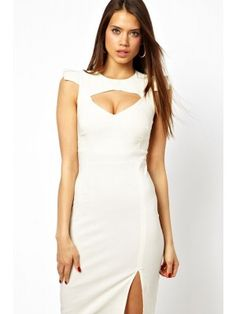 Sexy Round Collar Back Zipper Bare-Breasted Jag Sleeveless White Bodycon Women's Dress White Sleeveless Dress, White Midi Dress, Club Dresses, Day Dresses, Dresses 2014, Prom Dresses, Sexy Gown, Online Dress Shopping, Sammy Dress